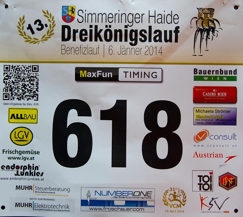 Startnummer Simmeringer Haide Dreikönigslauf