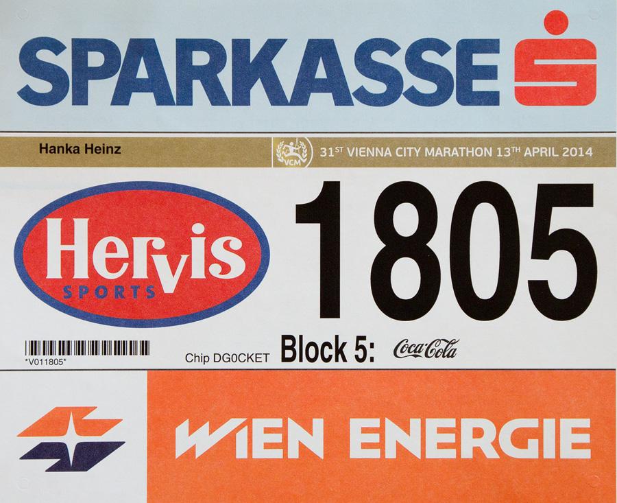 Startnummer Wien Marathon 2014